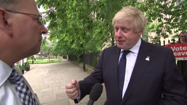 last day of campaign; north yorkshire: selby: boris johnson poses for selfie photograph with vote leave supporter during town centre walkabout/ boris... - referendum stock videos & royalty-free footage