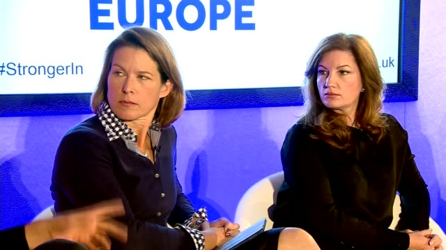launch of campaign for britain to stay in eu brick lane int various shots 'britain stronger in europe' campaign team talking on stage including... - カレン ブラディ点の映像素材/bロール