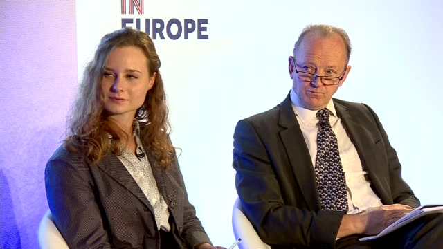 stockvideo's en b-roll-footage met launch of campaign for britain to stay in eu; england: london: brick lane: int various shots lord rose speaking on stage lord rose speech sot - i'm... - plant stage