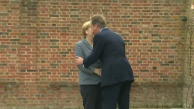 Launch of campaign for Britain to stay in EU LIB Buckinghamshire Chequers EXT Motorcade carrying Angela Merkel arriving David Cameron MP greeting...