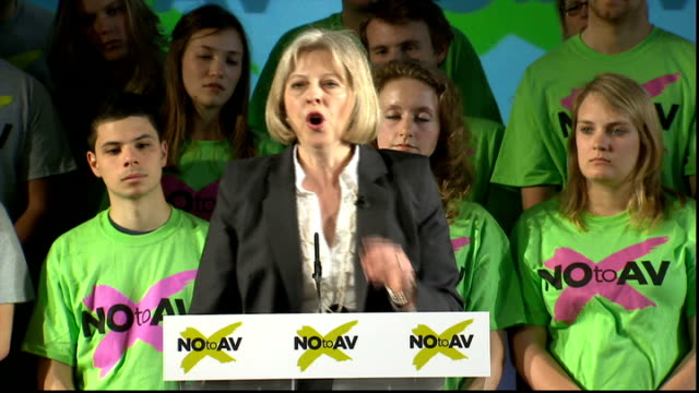 no campaign rally theresa may mp speech sot talks of number of times she has stood for election under the first past the post system / have always... - theresa may stock-videos und b-roll-filmmaterial