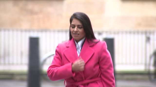 priti patel arriving at bbc broadcasting house england london ext priti patel mp arriving at bbc broadcasting house - priti patel stock-videos und b-roll-filmmaterial