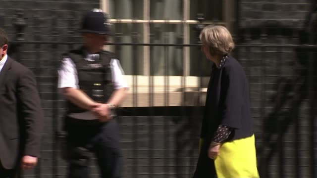 eu referendum / queen's speech preview england london downing street ext theresa may mp from number 10 and along philip hammond mp and patrick... - patrick mcloughlin stock videos and b-roll footage