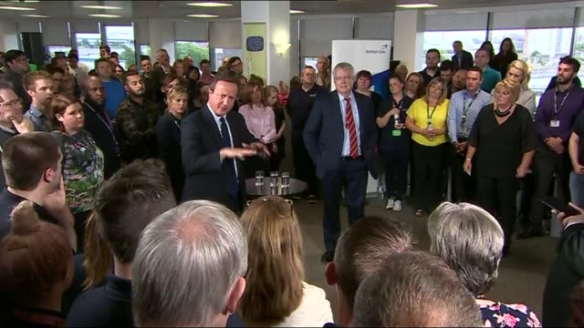 remain: david cameron and carwyn jones address british gas workers in cardiff; david cameron and carwyn jones question and answer - q&a - session - 2016 european union referendum stock videos & royalty-free footage