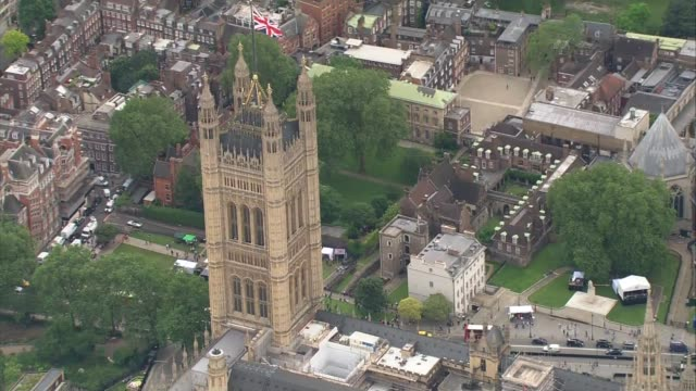 aerial views david cameron leaving london; england: london: ext air views whitehall, treasury building, horse guards parade, st. james' park, houses... - westminster cathedral stock videos & royalty-free footage