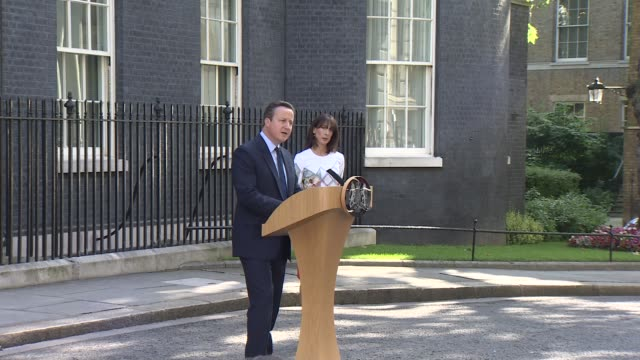 uk to leave the eu / cameron announces resignation further cameron cutaways england london downing street ext david cameron mp and wife samantha from... - david cameron politician stock videos & royalty-free footage