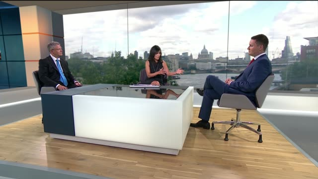to leave the eu: havering, barking and dagenham vote; england: london: gir: int andrew rosindell mp and wes streeting mp live studio interviews sot - ニナ・ホサイン点の映像素材/bロール