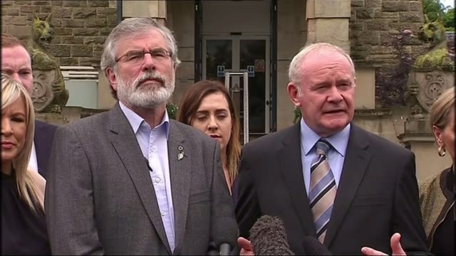 uk to leave the eu northern ireland reaction londonderry martin mcguinness gerry adams and other sinn fein members from stormont martin mcguinness... - stormont stock videos and b-roll footage