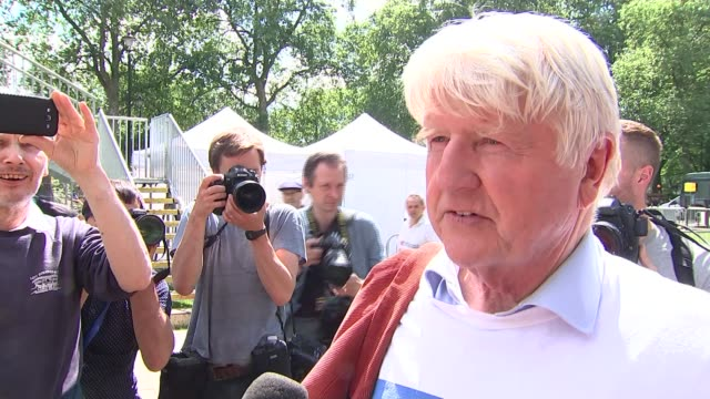 uk to leave the eu political fallout england london westminster out press stage on abingdon green stanley johnson along stanley johnson interview sot... - former stock videos and b-roll footage
