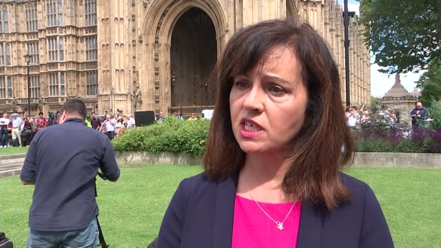 UK to leave the EU Political fallout Westminster Victoria Tower Reporter to camera PAN press area in Abingdon Green Caroline Flint MP interview SOT...