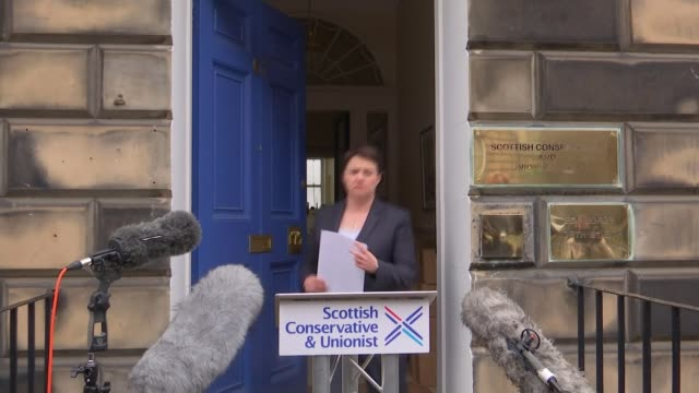 UK to leave the EU Scotland reaction Ruth Davidson MSP from building to podium/ Ruth Davidson MSP press conference SOT Talks of a second independence...