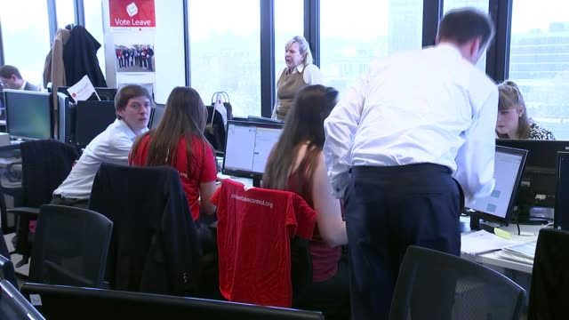 vote leave hq gvs england london int various shots of 'vote leave' posters at hq / gvs people working at desks / 'vote leave' mug on table /... - sweatshirt stock videos & royalty-free footage