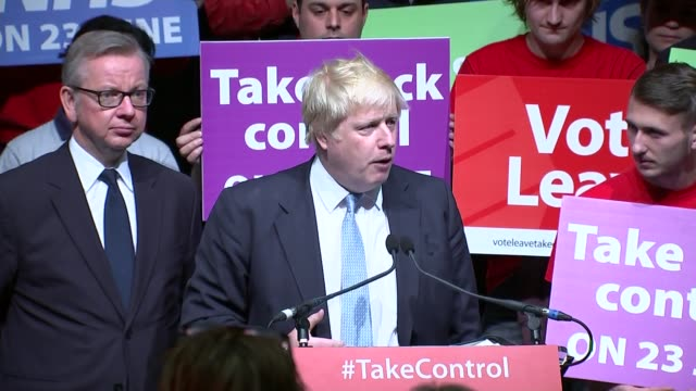 vote leave rally; boris johnson mp speech sot - political rally stock videos & royalty-free footage