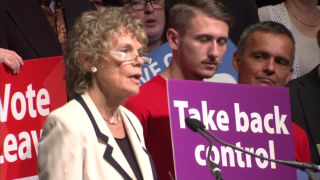 vote leave rally cutaways england london old billingsgate market photography*** michael gove mp speech cutaways / kate hoey mp speech cutaways priti... - priti patel stock-videos und b-roll-filmmaterial