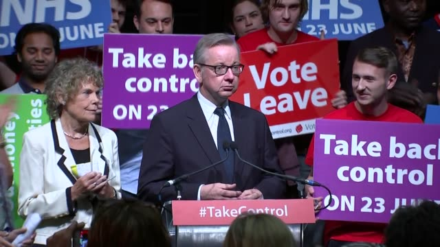 vote leave rally england london old billingsgate market int 'vote leave' supporters cheering and holding 'save our nhs' placards / michael gove mp... - priti patel stock-videos und b-roll-filmmaterial