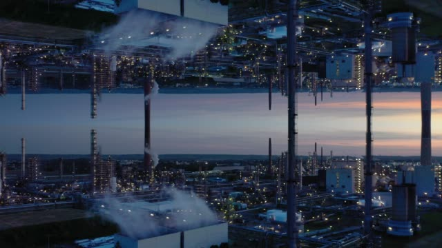 refinery at dusk - film composite stock videos & royalty-free footage