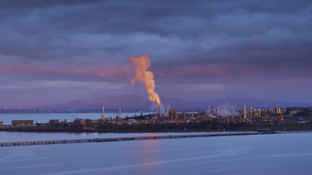 refinery on puget sound at twilight - aerial - anacortes stock videos & royalty-free footage