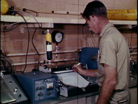 refinery worker analyzes oil samples with the ibm 1800 - quality control stock videos & royalty-free footage