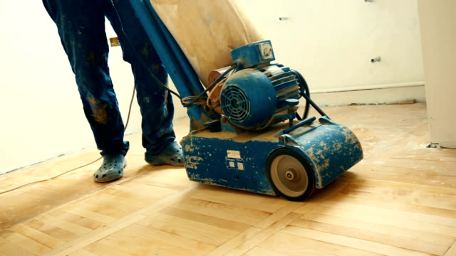 refinishing hardwood floor - sander stock videos and b-roll footage