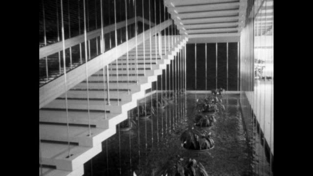 reflecting pool in gm technical centre lobby; 1964 - general motors stock videos & royalty-free footage