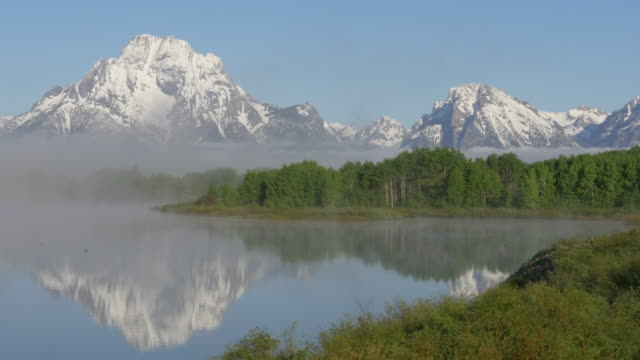 reflection and bird flying over the snake river at grand teton national park - grand teton stock videos & royalty-free footage