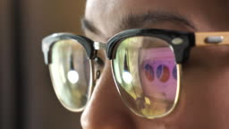 Reflection Business graphs on eyeglasses, Looking at Computer Monitor