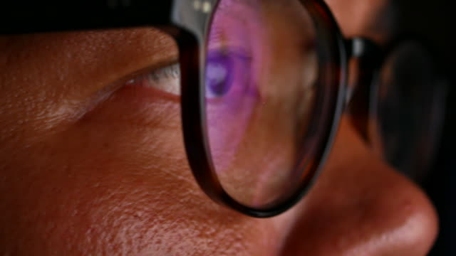 Reflection in the eyeglasses of the monitor when surfing the Internet.