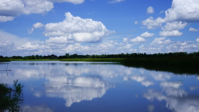 Reflection Lake With Cumulus Clouds