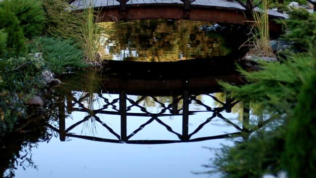 vídeos de stock e filmes b-roll de reflection of a bridge in water - reflection