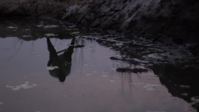 Reflection of man shoveling near pond