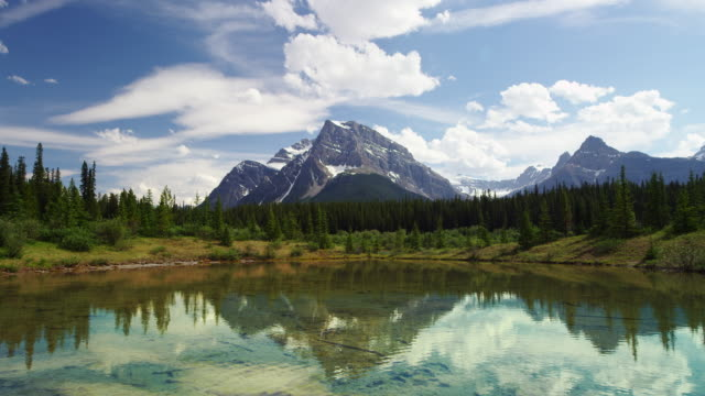 reflection of mountain in lake banff national park canada - banff national park stock videos & royalty-free footage