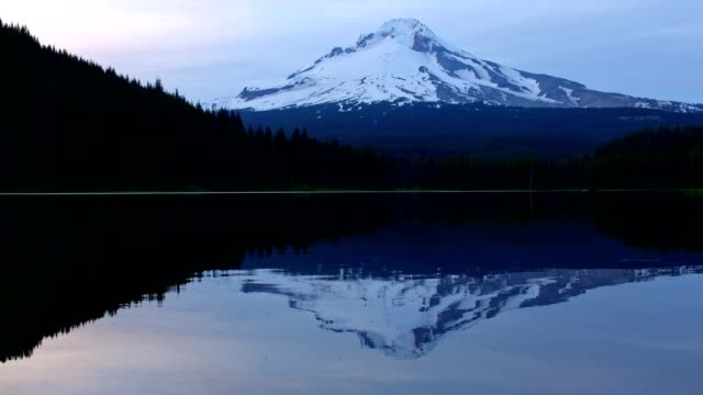 Reflection of mountain on forest lake Trillium Lake at Sunset with Mt. Hood Reflection