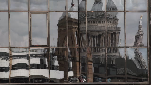 reflection of saint paul's cathedral in another building - distorted stock videos & royalty-free footage