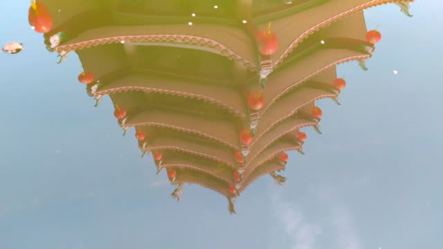 reflection of shrine on a water - roof tile stock videos & royalty-free footage