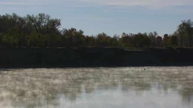 WS AERIAL POV Reflection of trees in Missouri River / North Dakota, United States