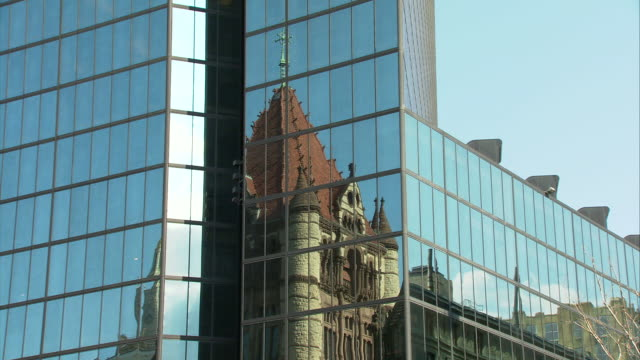 CU Reflection of Trinity Church in glass of Hancock Tower / Boston, Massachusetts, USA