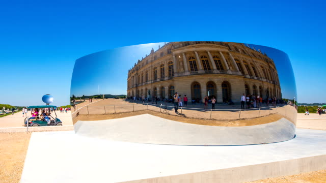 reflection view of garden of versailles in paris - versailles stock videos and b-roll footage