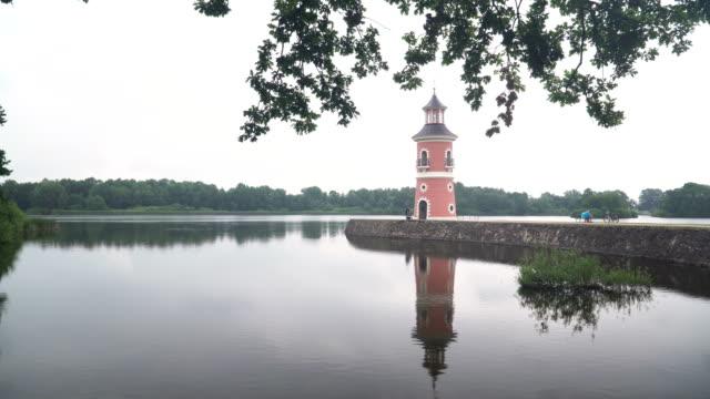 reflection view of Lighthouse Moritzburg near Dresden under overcast