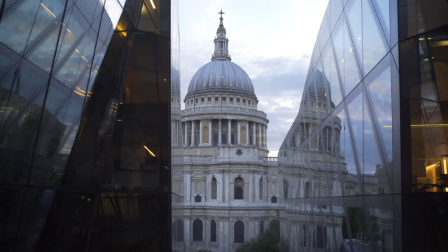reflections of st paul's cathedral, london, uk. - cathedral stock videos & royalty-free footage