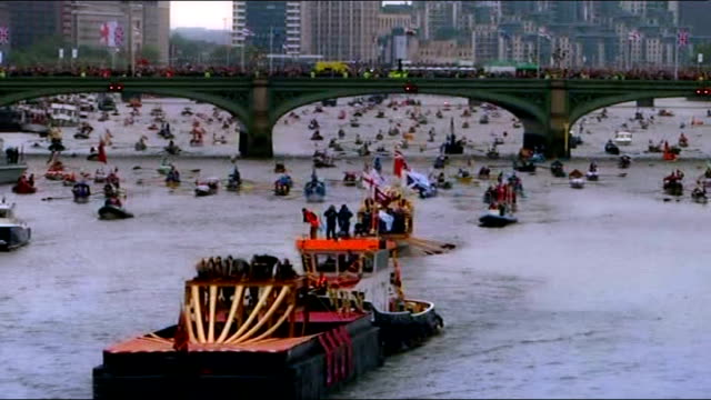 boats along river thames during diamond jubilee pageant as rain falling queen elizabeth ii prince philip duke of edinburgh prince charles prince of... - beauty contest stock videos and b-roll footage