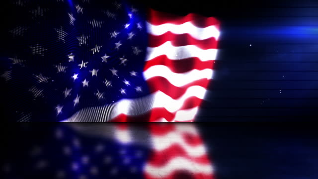 reflective background loop - the american flag (full hd) - adobe after effects stock videos and b-roll footage
