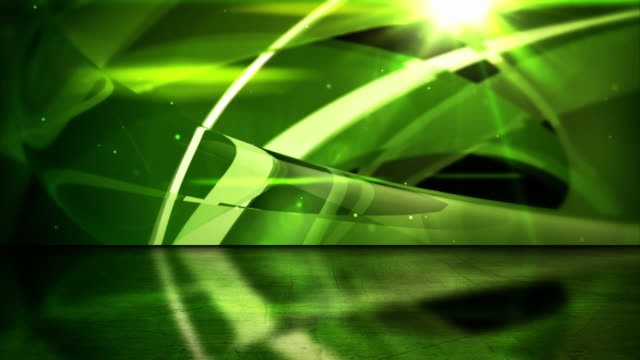 Reflective Floor Background Loop - Abstract Glassy Rings Green HD