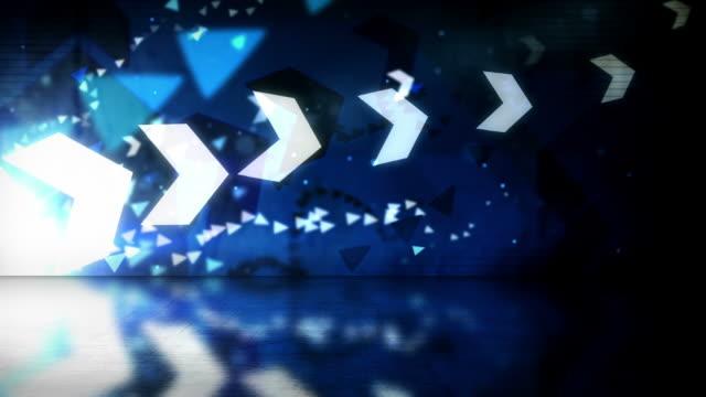 Reflective Floor Background Loop - Cool Arrows Blue HD