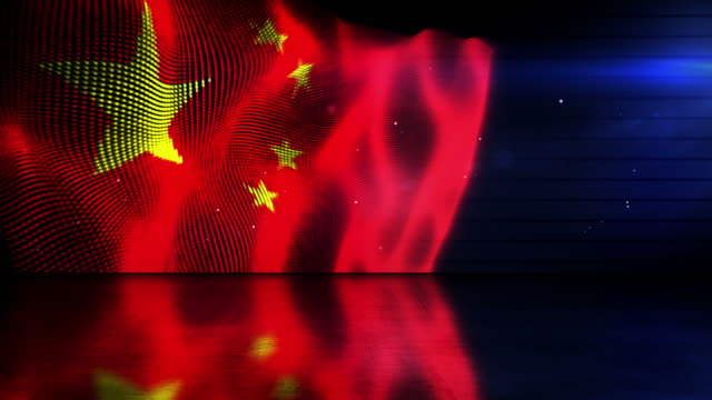 Reflective Floor Background Loop - The Chinese Flag (Full HD)