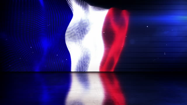 Reflective Floor Background Loop - The French Flag (Full HD)