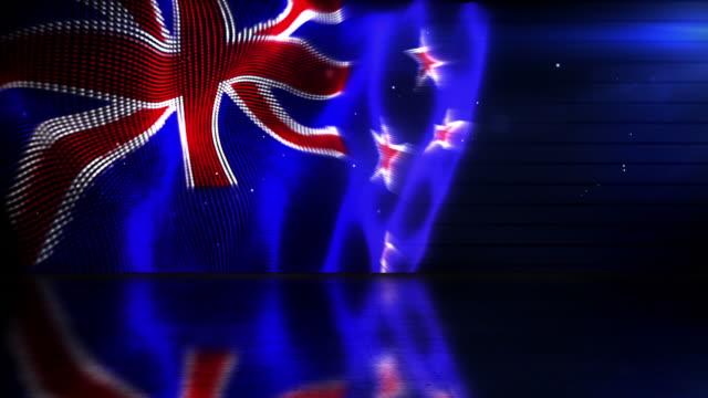 Reflective Floor Background Loop - The New Zealand Flag HD