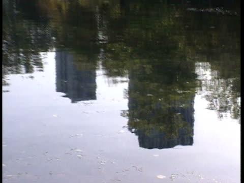 Reflective pond lake w/ ripples reflecting two city buildings ZO WS SLIGHTLY DARK Lake in park zoo trees around three city buildings BG IL