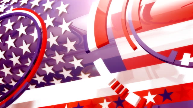 reflective spinning shiny american colors and shapes (4 versions) - election stock videos & royalty-free footage