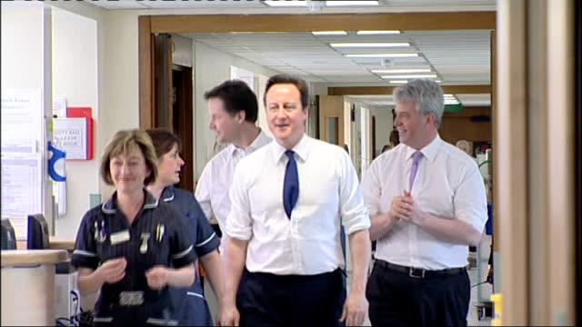 future forum team call for significant changes; lib surrey: camberley: frimley park hospital: cameron, nick clegg and andrew lansley mp , all in... - all shirts stock-videos und b-roll-filmmaterial