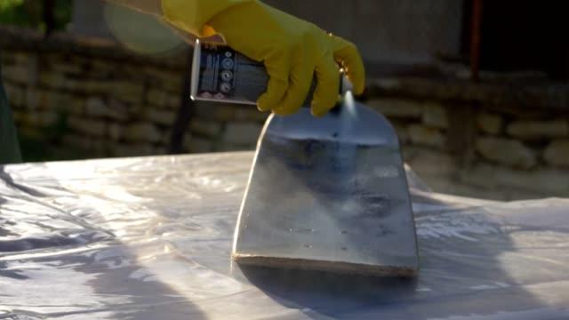 refresh. painting my skateboard. - spray painting stock videos & royalty-free footage